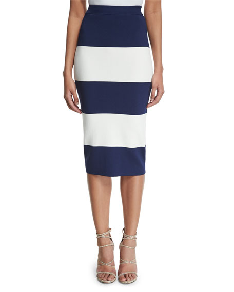 Image 1 of 3: High-Waist Wide-Striped Pencil Skirt