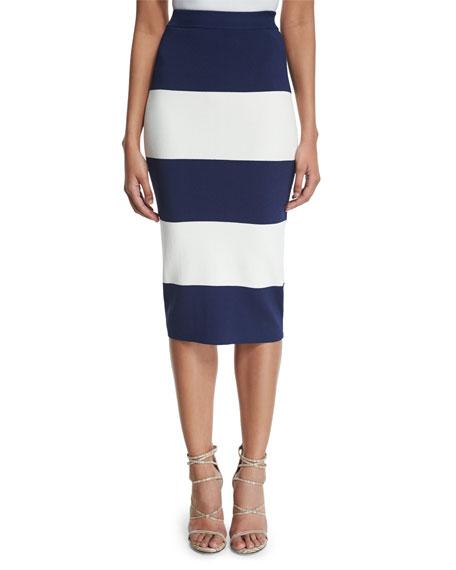 High-Waist Wide-Striped Pencil Skirt