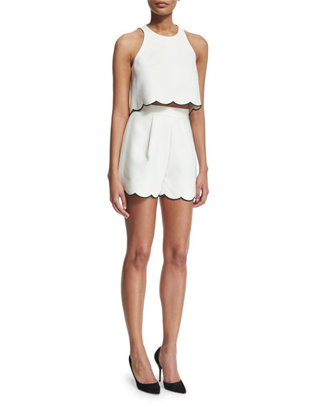 High-Waist Scallop-Hem Shorts, Bright White/Black