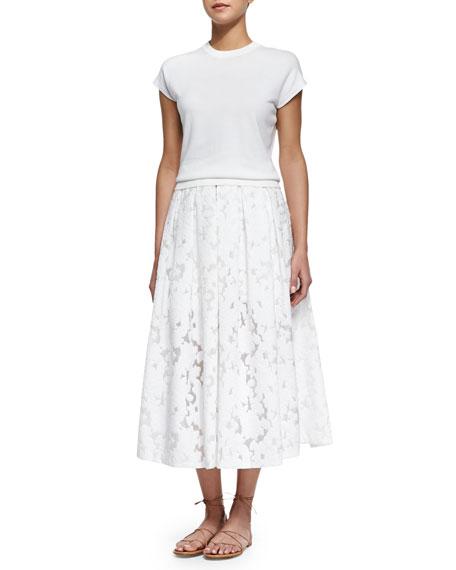 Floral Fil Coupe Midi Skirt, Optic White