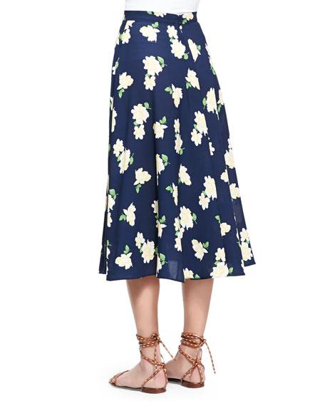 Camellia-Print Ruffled Circle Skirt, Indigo/White/Yellow