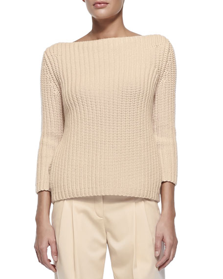 Michael Kors Collection Shaker-Knit Cashmere Boat-Neck Sweater
