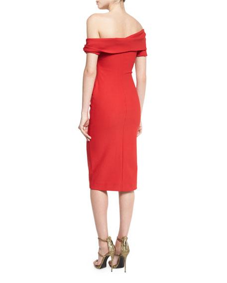 Emily Off-The-Shoulder Sheath Dress, Crimson Red