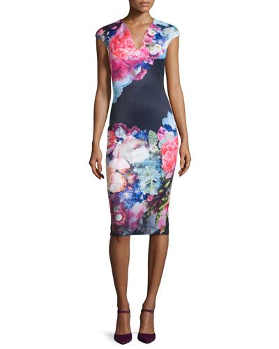 Brynee Cap-Sleeve Floral-Print Sheath Dress, Dark Blue