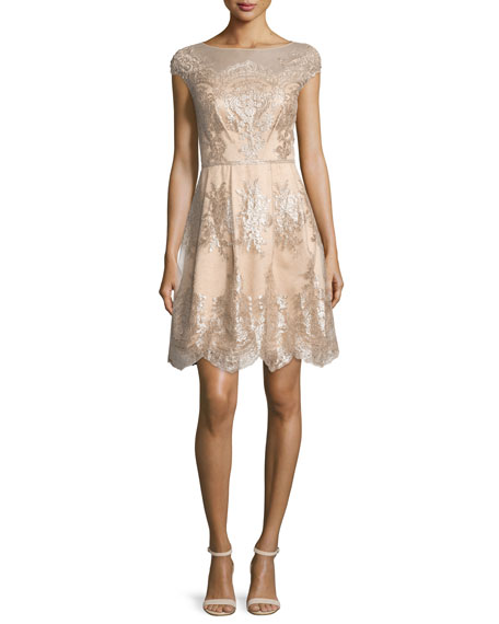 Kay Unger New York Cap-Sleeve Metallic Lace Fit-and-Flare