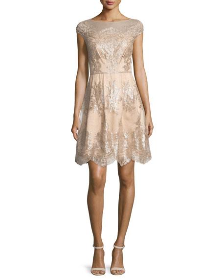 Cap-Sleeve Metallic Lace Fit-and-Flare Dress, Mocha