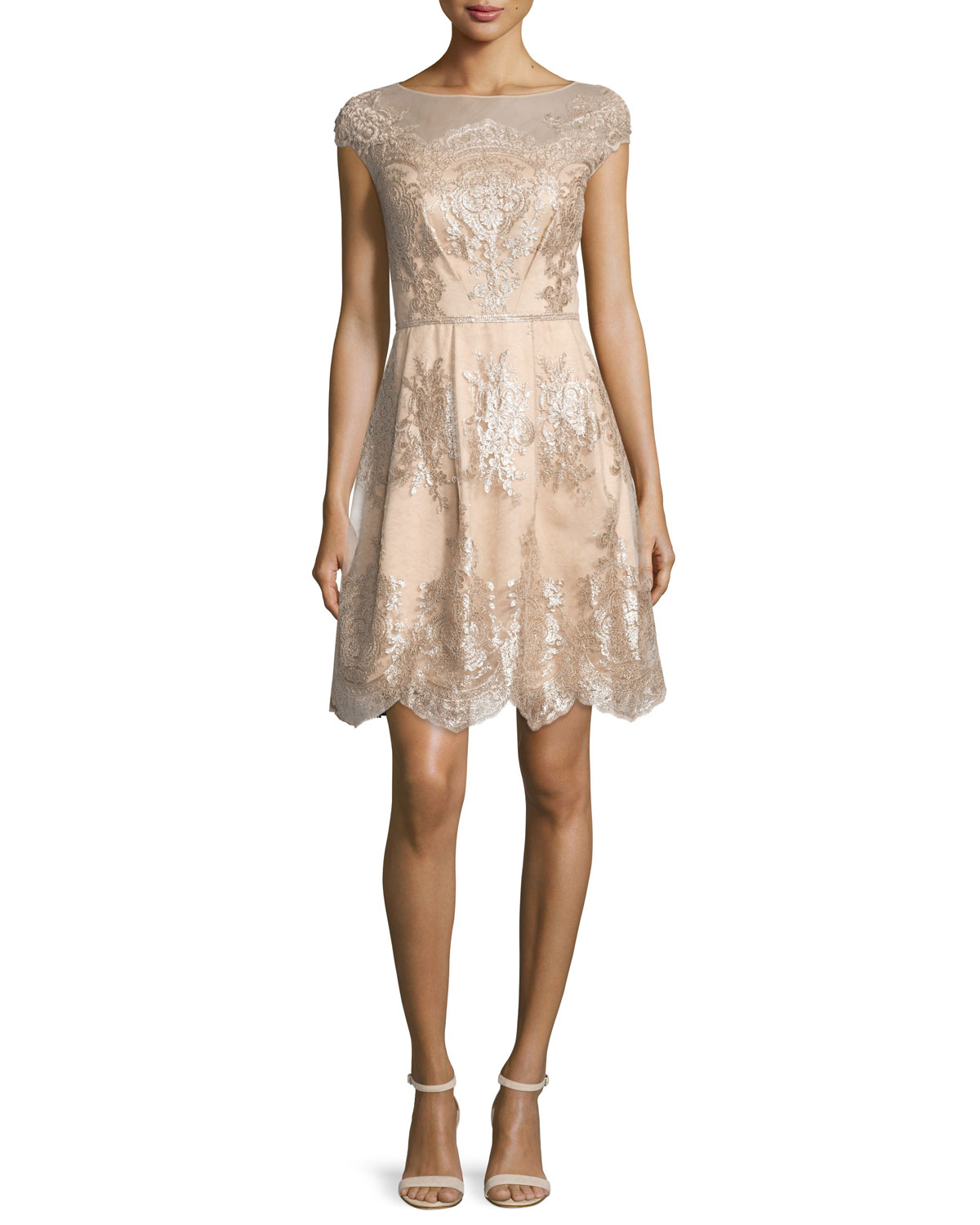 Kay Unger New York Cap-Sleeve Metallic Lace Fit-and-Flare Dress ...
