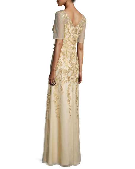Short-Sleeve Floral-Embroidered Chiffon Gown, Gold