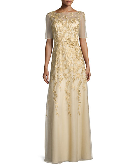 Kay Unger New York Short-Sleeve Floral-Embroidered Chiffon Gown,