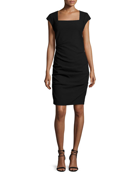 Nicole Miller Cap-Sleeve Textured Sheath Dress, Black