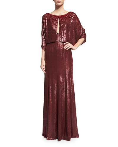 3/4-Sleeve Round-Neck Embellished Gown, Merlot