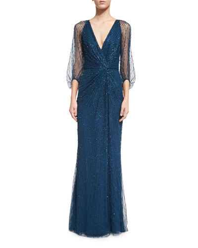 3/4-Sleeve Embellished Wrap Gown, Abusson Blue