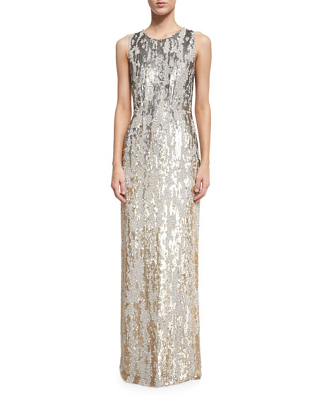 Sleeveless Sequined Burnout Gown, Dawn Gold