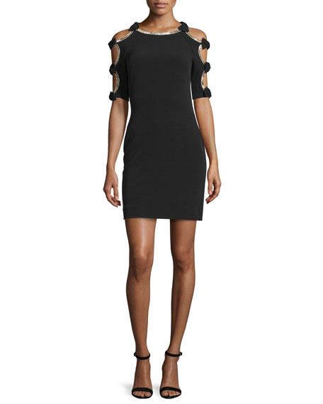 Jenny Packham Bow-Sleeve Sheath Cocktail Dress, Black