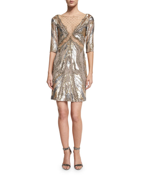Jenny Packham Half-Sleeve Embellished Sheath Dress, Dawn Gold