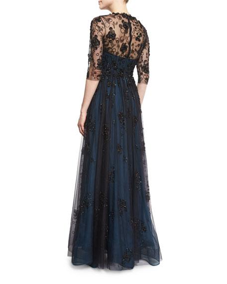 Half-Sleeve Embellished Gown, Black Abusson Blue