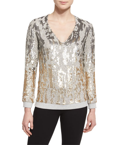 Long-Sleeve Sequined Burnout Top, Dawn Gold