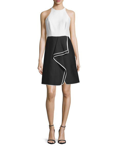 Halston Heritage Sleeveless Combo Ruffle Cocktail Dress