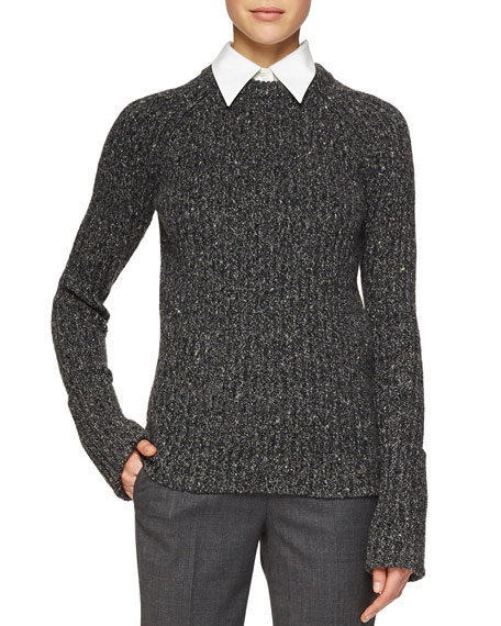 Michael Kors Merino/Cashmere Ribbed Crewneck Sweater, Charcoal