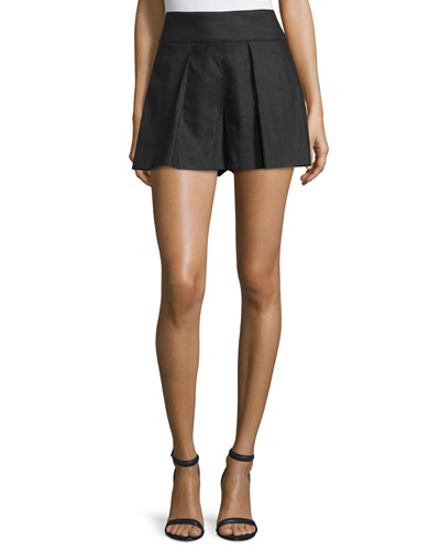 Pleated-Front High-Waist Shorts, Black