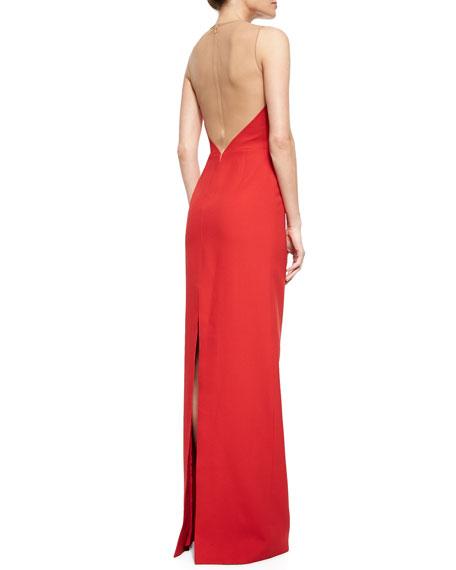 Sheer-Back Cutout Column Gown