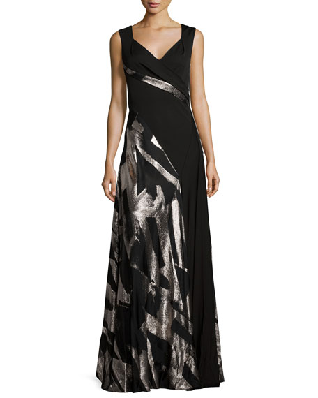 Rubin Singer Abstract-Print Sleeveless Gown, Black/Metallic
