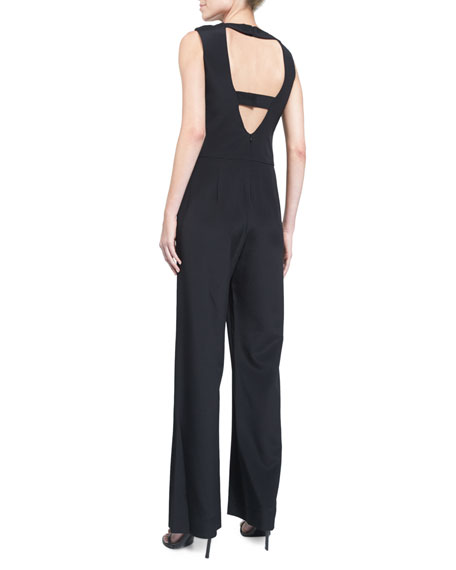 Open-Back Straight-Leg Jumpsuit, Black