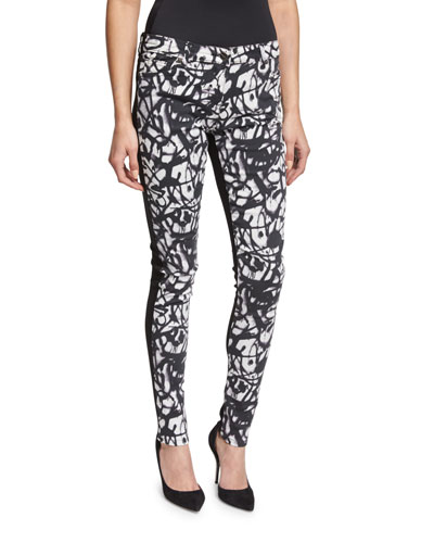 Graffiti Scribbles Skinny Ankle Jeans, White/Black