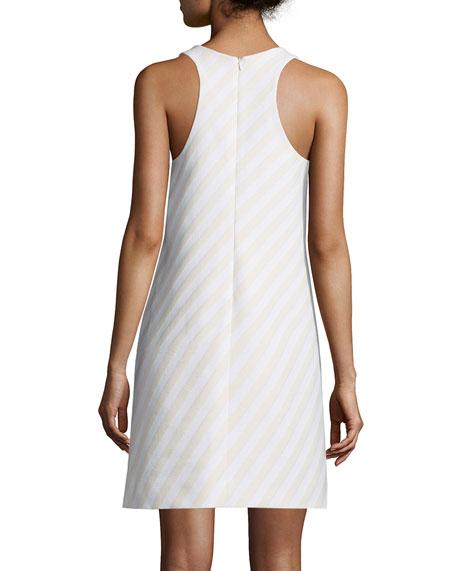Striped Jacquard Shift Dress, Cream