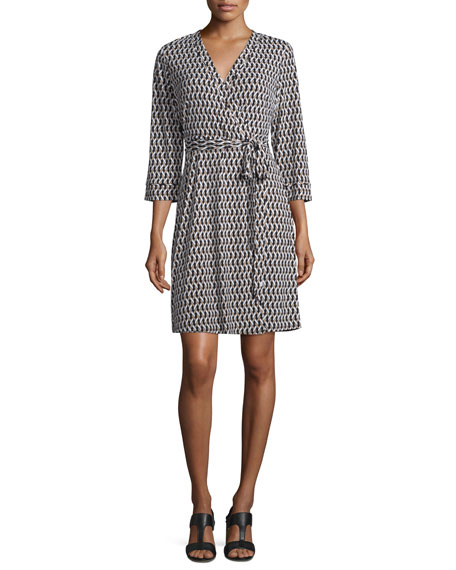 Laundry By Shelli Segal 3/4-Sleeve Printed Wrap Dress,