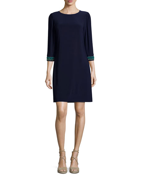 Laundry by Shelli Segal Embroidered 3/4-Sleeve Shift Dress, Ink Blot