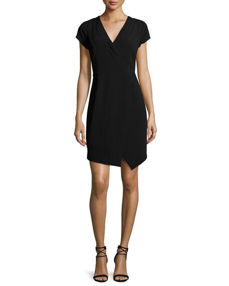 Laundry by Shelli Segal Cap-Sleeve Faux-Wrap Dress, Black