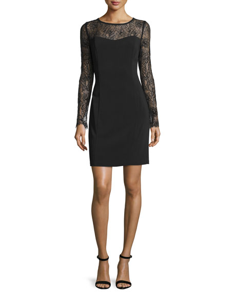 Laundry by Shelli Segal Long-Sleeve Lace-Inset Sheath Dress,