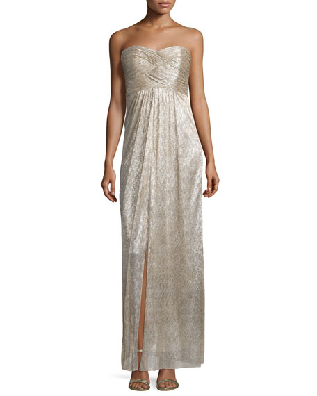 Laundry By Shelli Segal Strapless Sweetheart-Neck Metallic Gown,