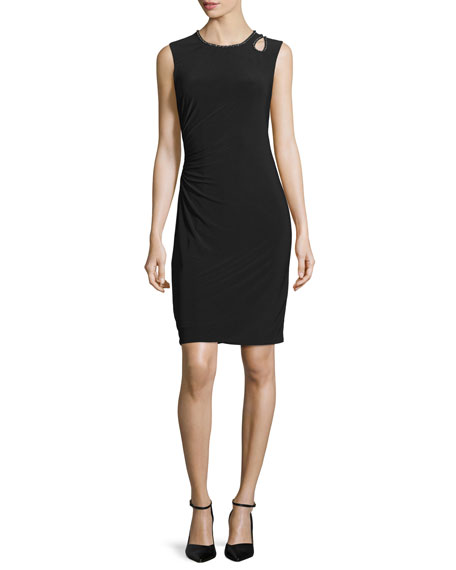 Laundry by Shelli Segal Sleeveless Embellished-Trim Sheath Dress, Black