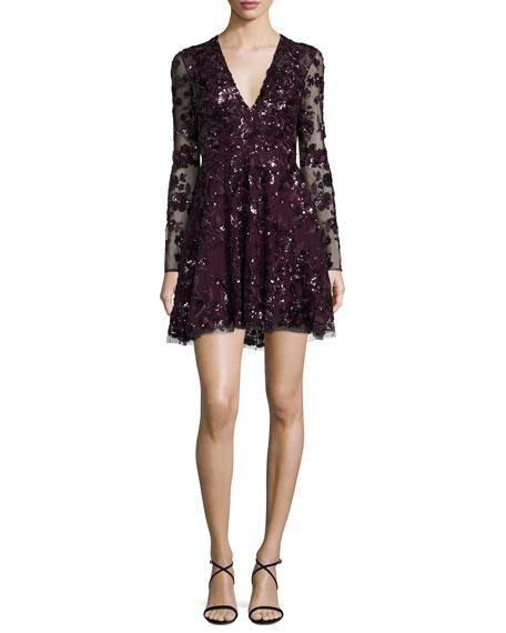 Long-Sleeve V-Neck Beaded Lace Dress, Purple
