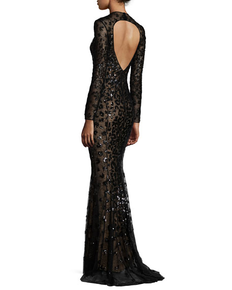 Long-Sleeve Illusion Leopard-Sequined Gown, Black