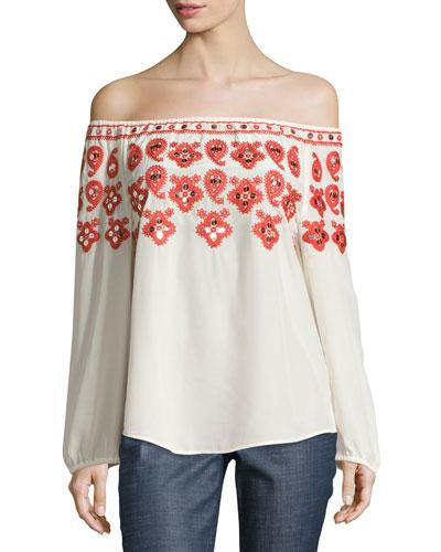 Leyla Off-the-Shoulder Embroidered Top, Black/Red