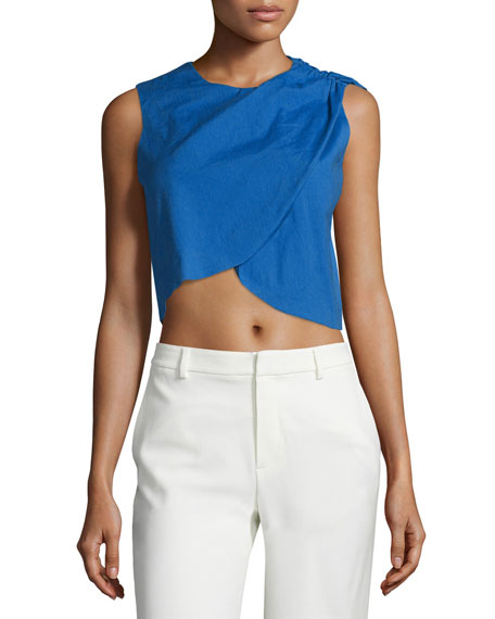 Nicole Miller Sleeveless Draped Crop Top, Catalina Blue