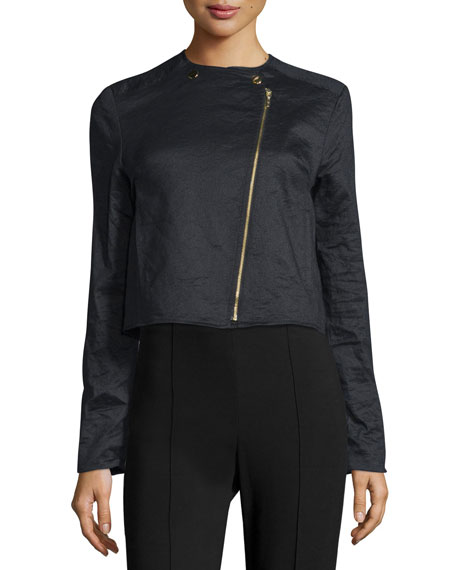Nicole Miller Asymmetric Zip-Front Short Jacket, Black