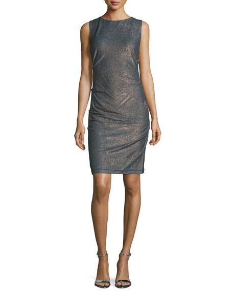 Nicole Miller Sleeveless Metallic Sheath Dress, Teal