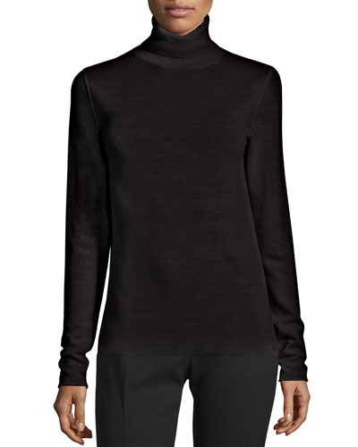 Wool Turtleneck Sweater, Black
