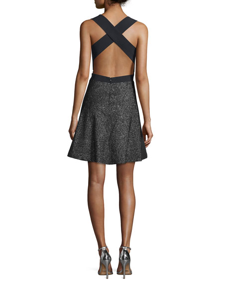 Starlight Crisscross-Back Party Dress, Black