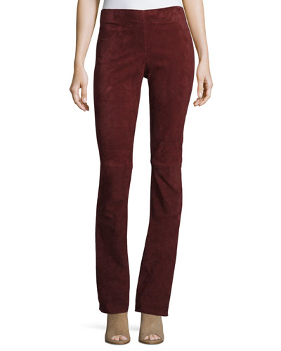 Lex Suede Boot-Cut Pants, Ruby