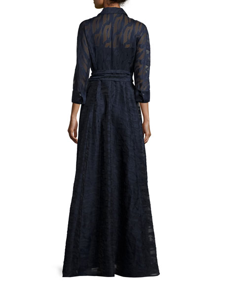 Long-Sleeve Belted Fil Coupe Gown, Navy