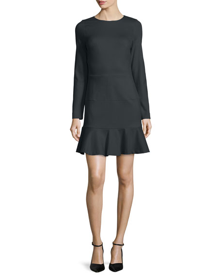 Long-Sleeve Ponte Dropped-Waist Dress