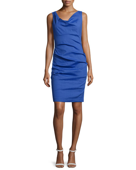 Nicole Miller Sleeveless Tuck-Pleated Sheath Dress, Catalina Blue