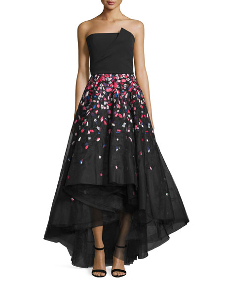 Strapless Threadwork High-Low Gown, Jet