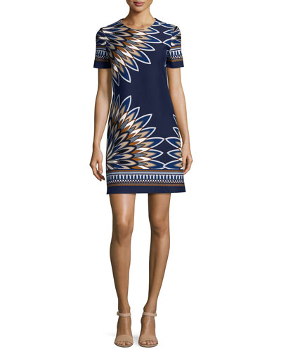Deco Fan-Print Short-Sleeve Dress, Royal Navy/Eden