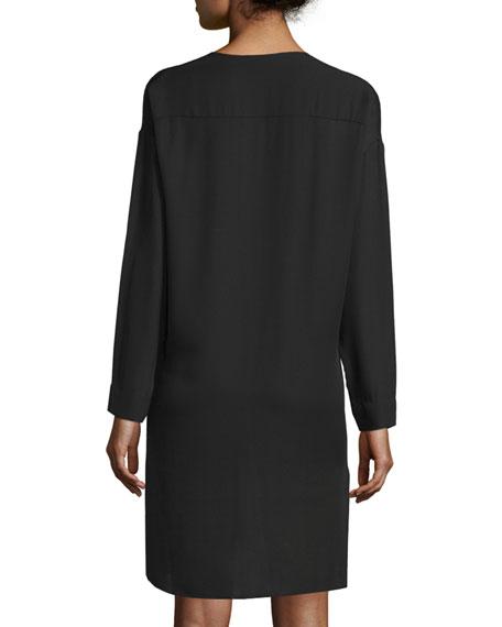 Vince Split Neck Pintuck Silk Dress Neiman Marcus